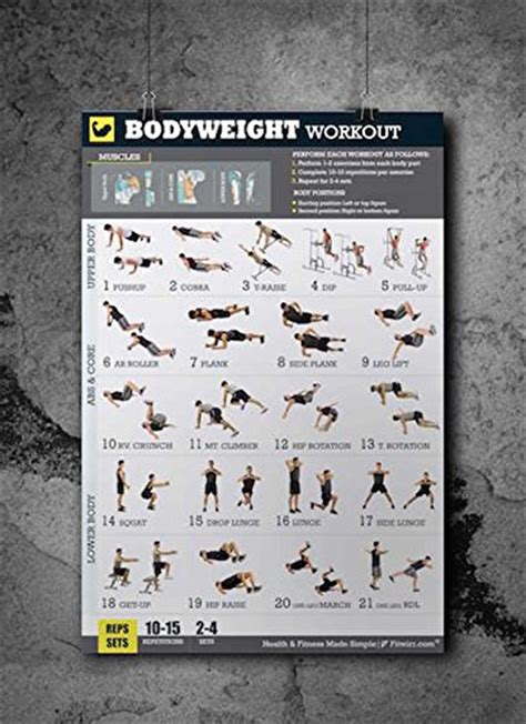 3 workout poster pack dumbbell exercises bodyweight