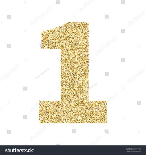 Cape Brukat Glitter Gold 1 gold glitter alphabet number 1 ideal stock vector 597091763