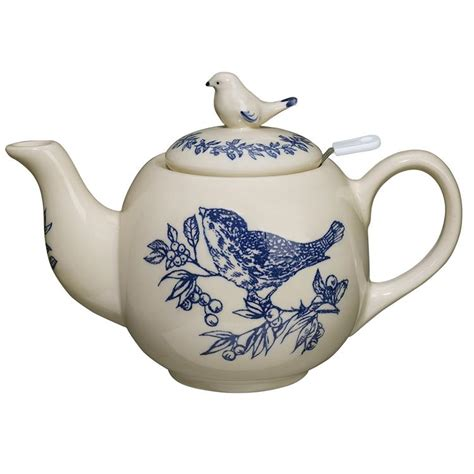 blue bird toile round teapot the teapot shoppe inc