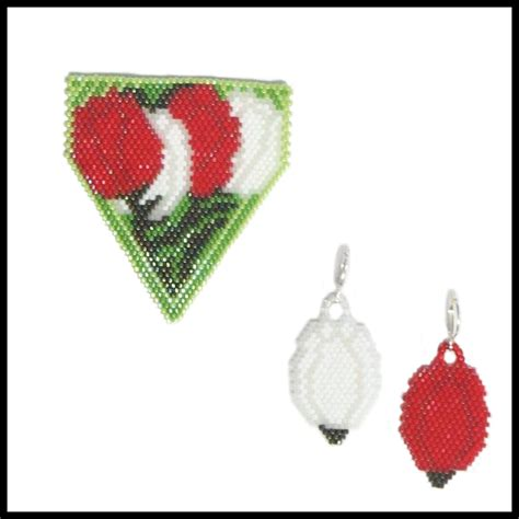 Tulips Earrings tulips for pendant and earrings bead patterns