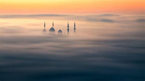 wallpaper sheikh zayed mosque abu dhabi sunrise fog