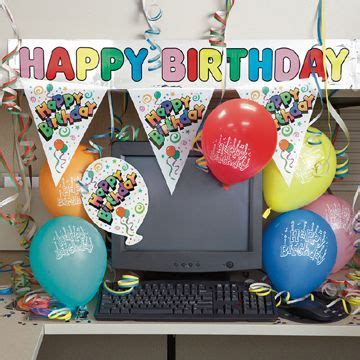 Office Desk Birthday Decoration Ideas Happy Birthday Decorate Your Employees Desk With Banners Flags Confetti Balloons Mrtltd