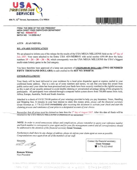 Report Letter Scams Don T Be Fooled By A Lottery Scam Usa Mega