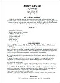Sample Resume Maintenance Technician Professional General Maintenance Technician Templates To