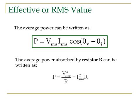 power absorbed by resistor equation ac power analysis instantaneous average power ppt