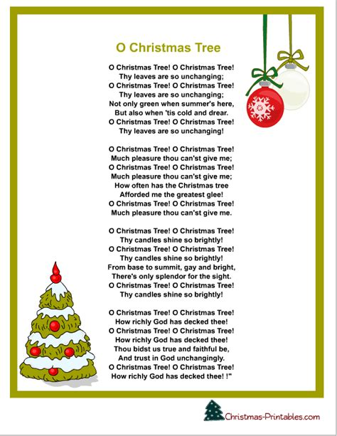 christmas tree songs for kids free printable carols and songs lyrics