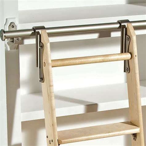 rockler classic satin nickel rolling library ladder