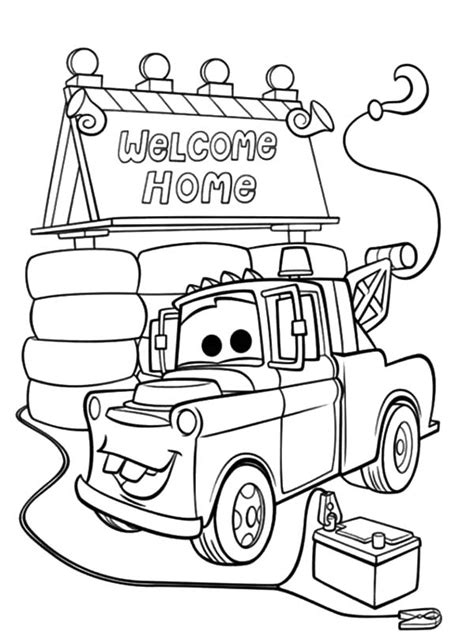 Tow Mater Coloring Pages Free Coloring Home Mater Coloring Pages