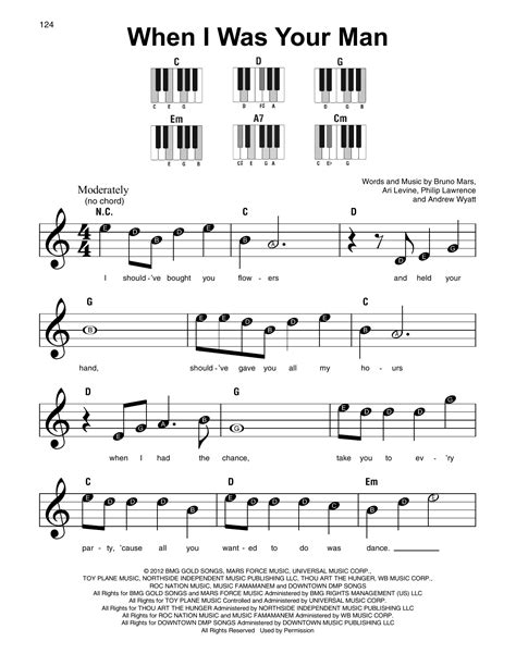 printable lyrics when i was your man when i was your man sheet music direct