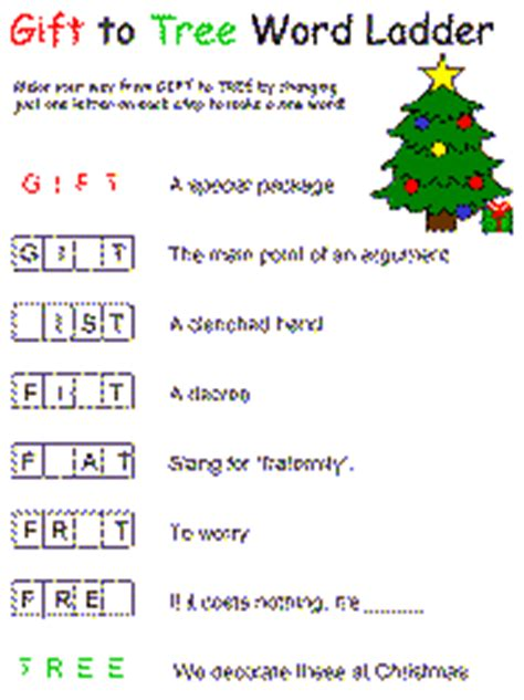 printable word ladder games christmas word ladder
