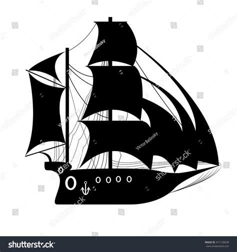 pirate ship sail template pirate ship sailing ship black stock vector