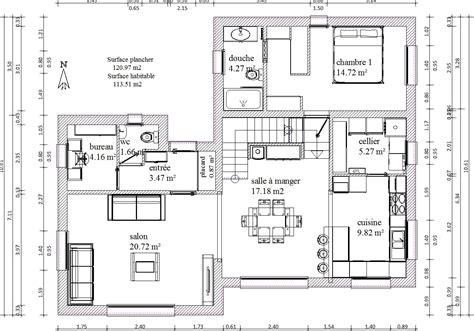 Comment Calculer Une Surface En M2 5413 by Plan Maison R 1 120m2