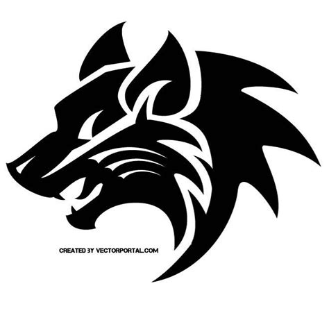 Wolf Tribal Style Vector Download At Vectorportal Tribal Graphics Vector