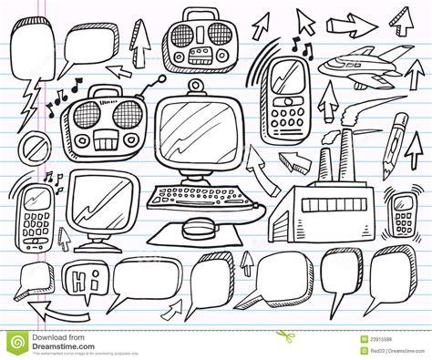 Doodle Electronics Work Business Set Royalty Free Stock