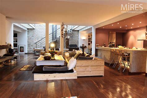 Garage With Loft Designs mur de brique et parquet brun c0021 mires paris