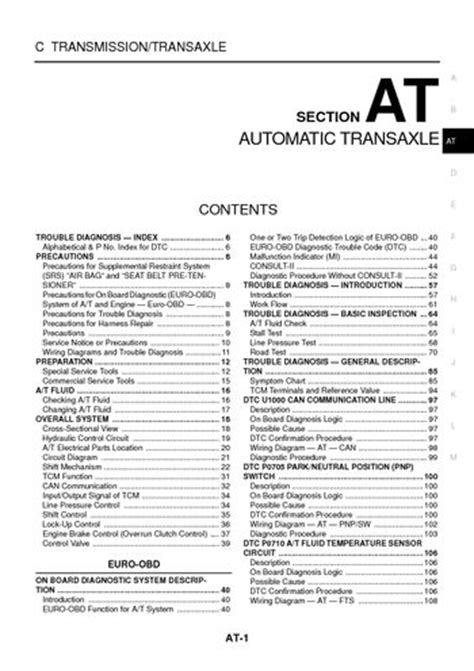 2005 nissan x trail automatic transmission section at pdf manual 540 pages