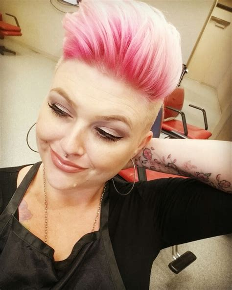 pixie haircut with shaved sides pink shadow root shaved sides pixie cut hair affaire