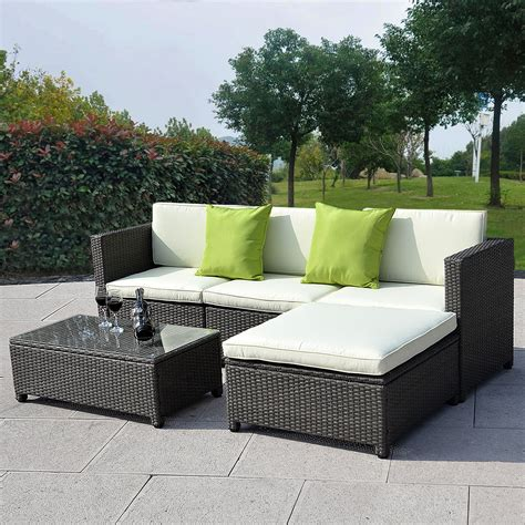 sofa patio outdoor patio wicker sofa set 5pc pe rattan