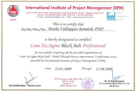 six sigma black belt certificate template international institute of project management