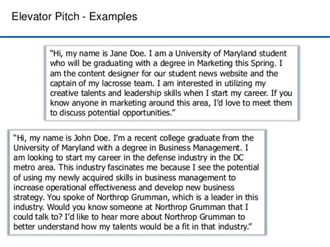 Elevator Pitch Exles For Mba Students by Networking For Success
