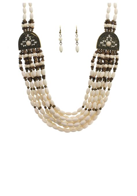 indian bead necklace white beaded american necklace and earrings