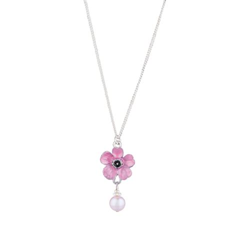cherry blossom necklace with pearl cherry blossoms