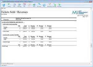sle ticket sales report arts management systems