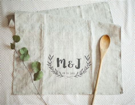 Wedding Anniversary Years Tea Towel by Personalized Linen Kitchen Tea Towel Handmade Pre Washed
