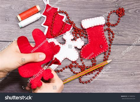 handmade christmas toys stepbystep children holiday stock