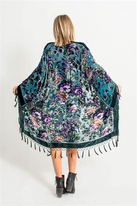beaded kimono velvet beaded fringe kimono teal floral by phraseologyla