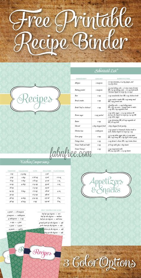 Free Recipe Templates For Binders recipe binder templates images
