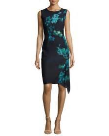 elie tahari wynn floral print asymmetric dress in black lyst