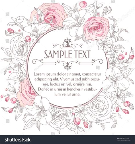 birthday card template floral greeting card flowers handdrawn floral wreath stock vector