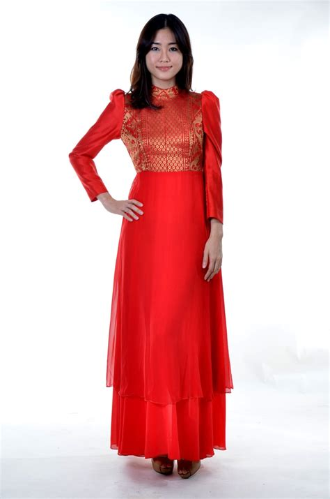 Longdres Songket dress chiffon sating with songket in the mood for hari raya dinner