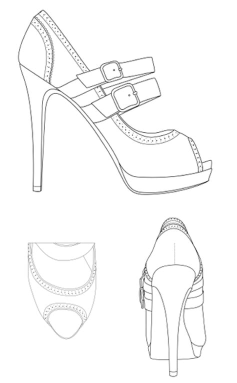 free coloring pages of croquis shoes