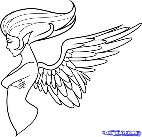 angel tattoo side view step 11 how to draw an angel tattoo