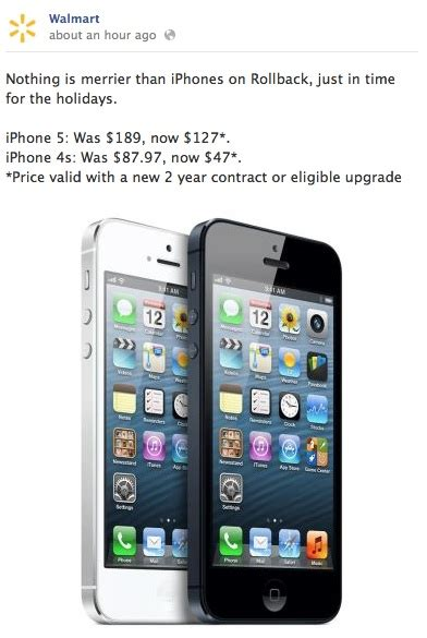 iphone walmart walmart offering iphone 5 for 127 third generation for 399 mac rumors