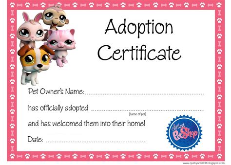 puppy birth certificate template free artist loft littlest pet shop free