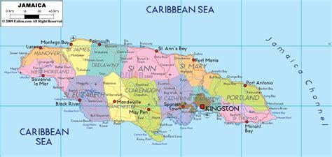 map of america showing jamaica detailed political map of jamaica ezilon maps