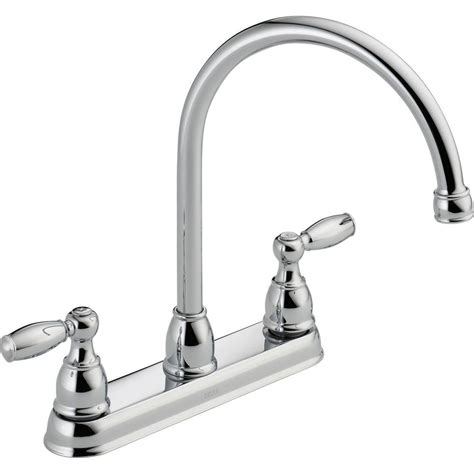 delta 2 handle kitchen faucet delta foundations 2 handle standard kitchen faucet in chrome 21987lf the home depot
