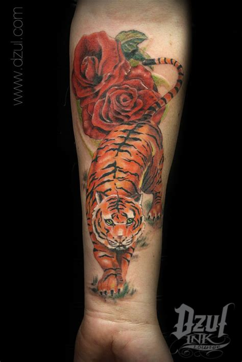 tiger rose tattoo realistic color tiger www dzul realistic