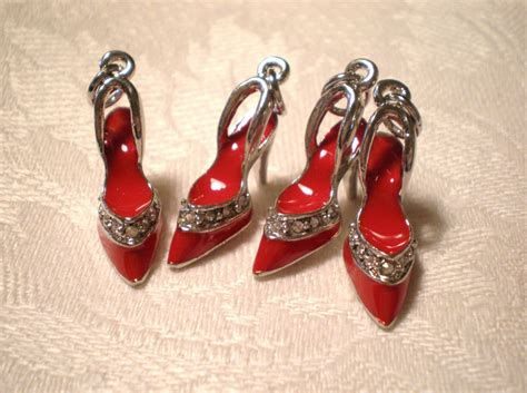 Shewelry Jewelry For Your Shoes by Silver Shoe Charms Enameled High Heel Jewelry Pendants 4