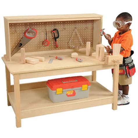wooden toy tool bench wooden workbench with vise by kaplan early learning company