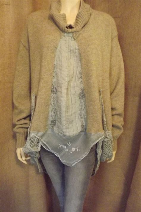 how to upcycle sweaters lagenlook upcycled sweater jacket vintage lace embroidered