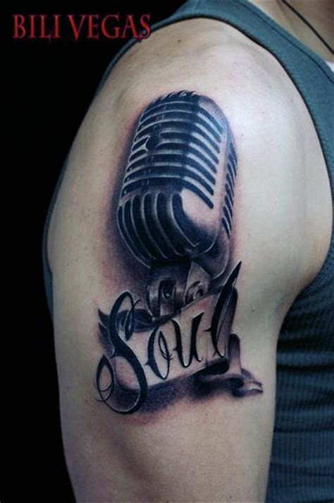 music mic tattoo designs soul mic on arm ideas