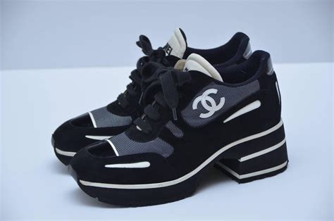 white chanel sneakers chanel 1997 platform black white shoes sneakers new 38 5