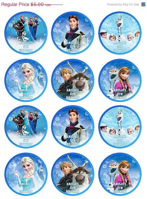 frozen printable etsy 40 off sale digital printable frozen cupcake toppers tag