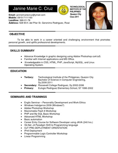 Free Sle Resume In The Philippines Philippines Resume Sle Resumes Design