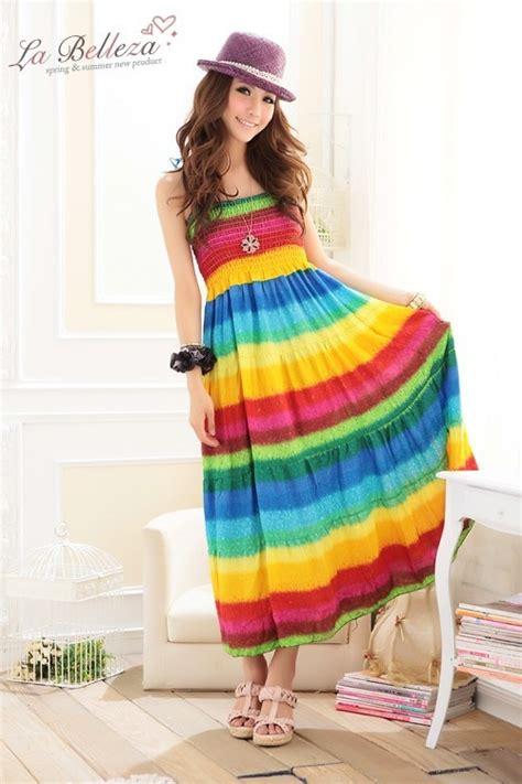 Longdress Biru Cc wholesale bohemia dress with rainbow stripe print