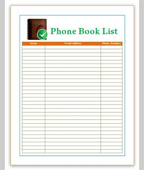 list template for phone sle of phone list template